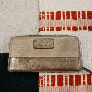 Kate Spade Gold Long Wallet Metallic Woven OS
